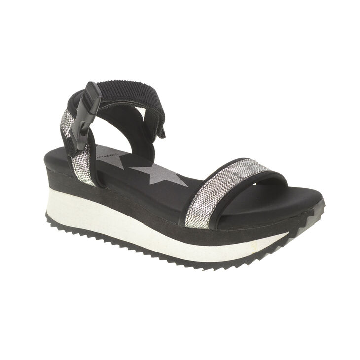 Chinese Laundry Gung Ho Sandals in Blk/slv Size 5.0