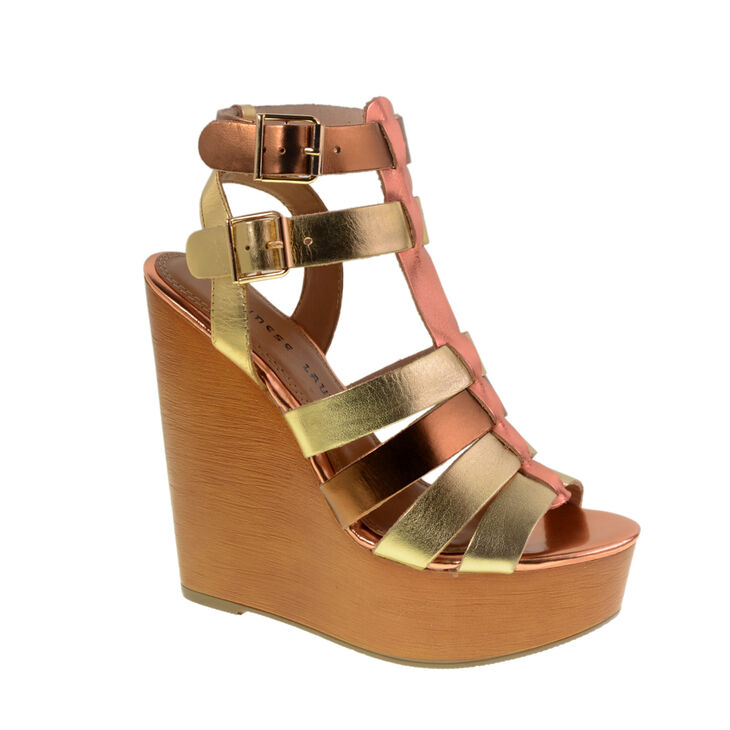 Chinese Laundry Jump Drive Gladiator Wedges in Mixed Gold