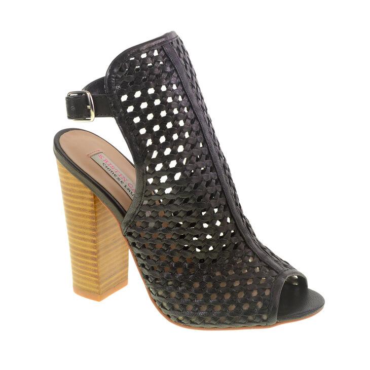 Kristin Cavallari Shoes Kristin Cavallari Largo Heeled Sandal Woven Leather Open Back Sandal Color - Black