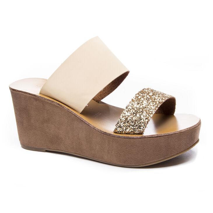 Chinese Laundry Ollie Slide Heels in Gold Glttr/sand