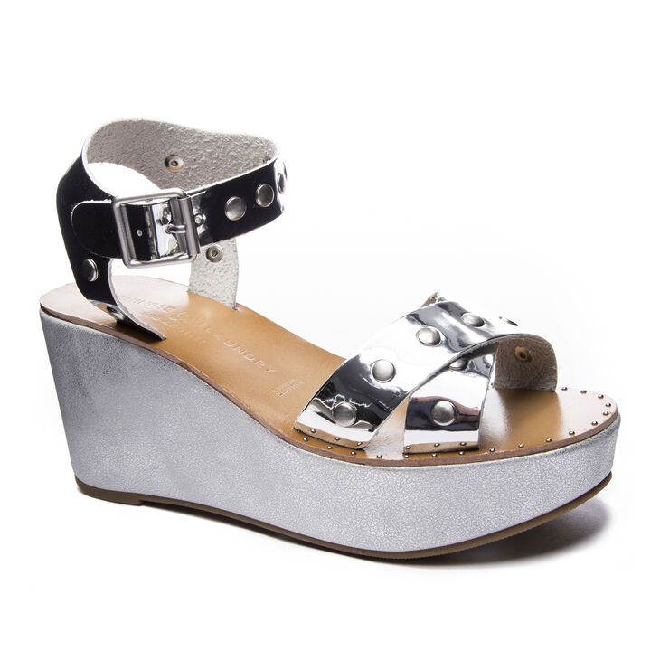 Chinese Laundry Ozzie Slide Heels in Silver