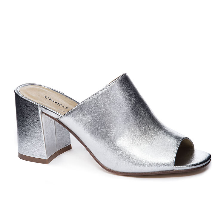 Chinese Laundry Sammy Slide Heels in Silver